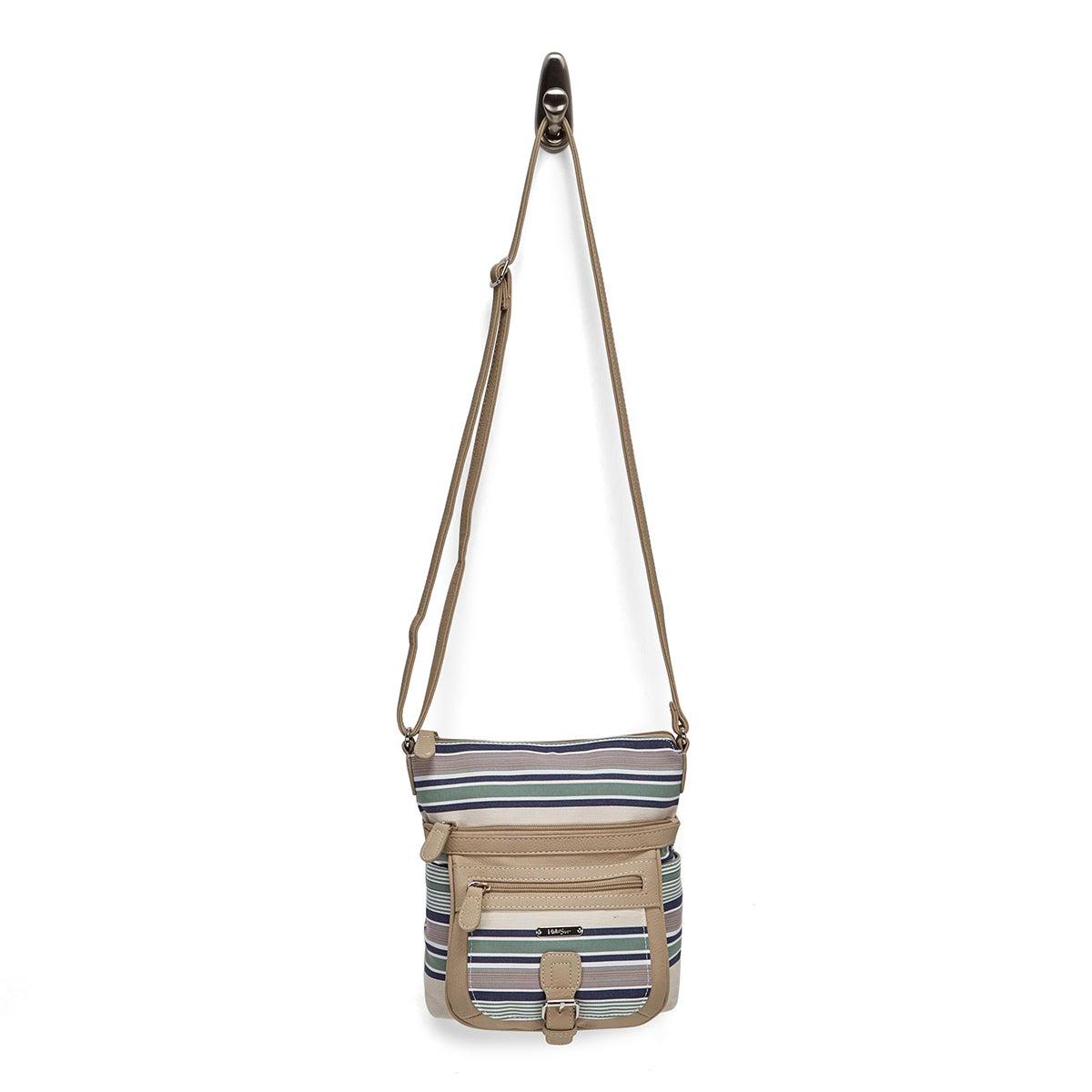 Lds blu stripe/chino crossbody bag