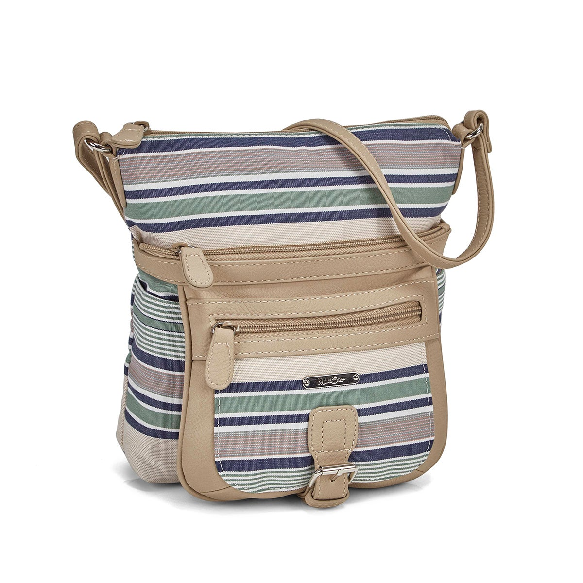 Women's blue stripe chino crossbody bag