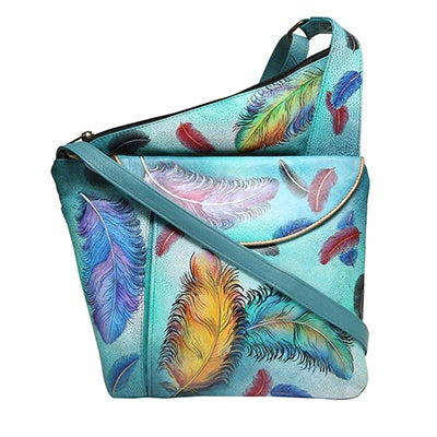Printed lthr FloatingFeather crossbody