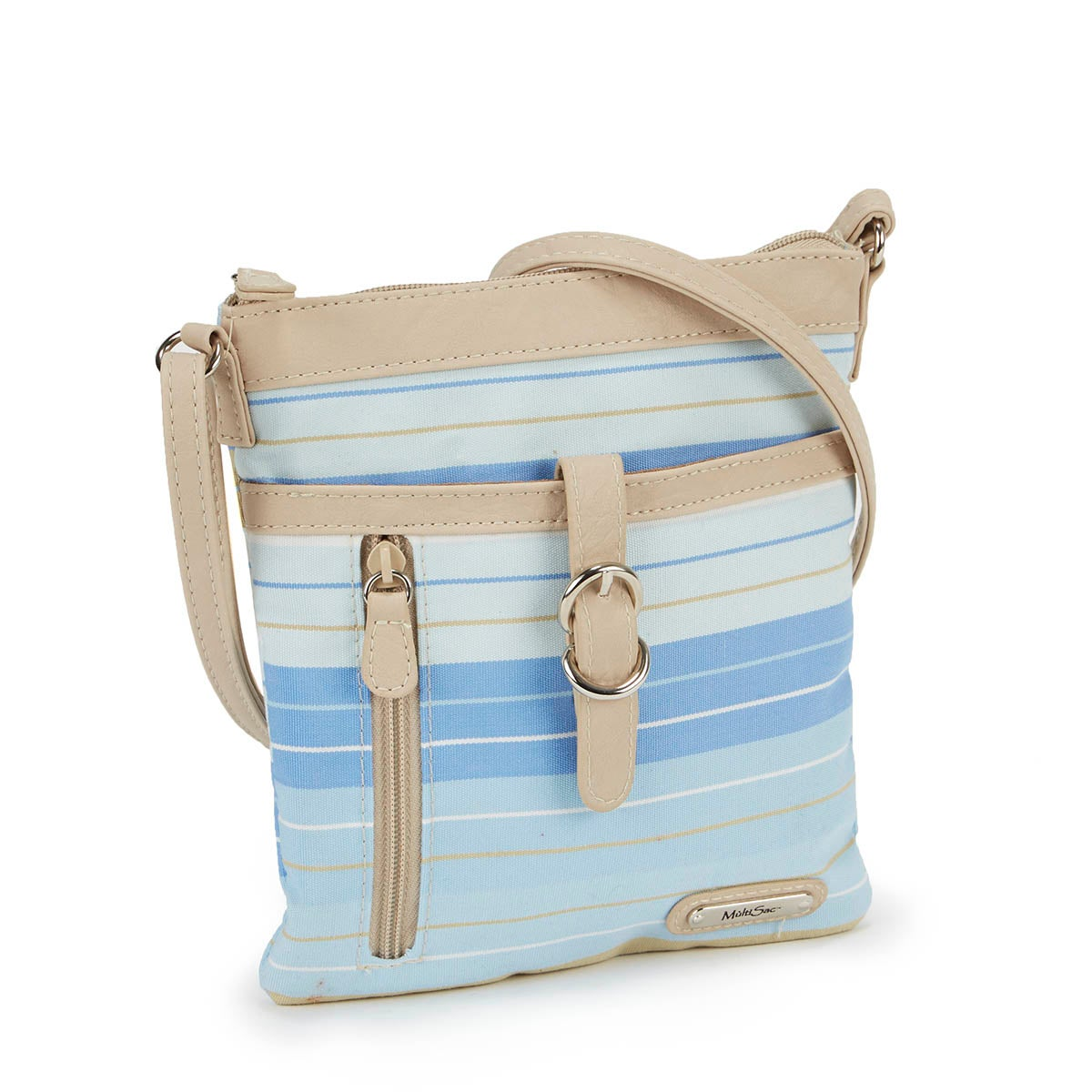 Lds blue/chino mini cross body bag