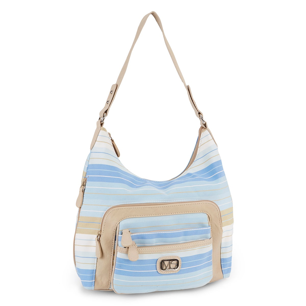 Lds blue/chino striped hobo bag