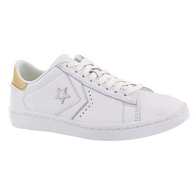 Lds PL LP wht/gld metallic sneaker
