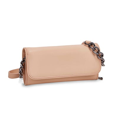 Lds blush front flap cross body bag