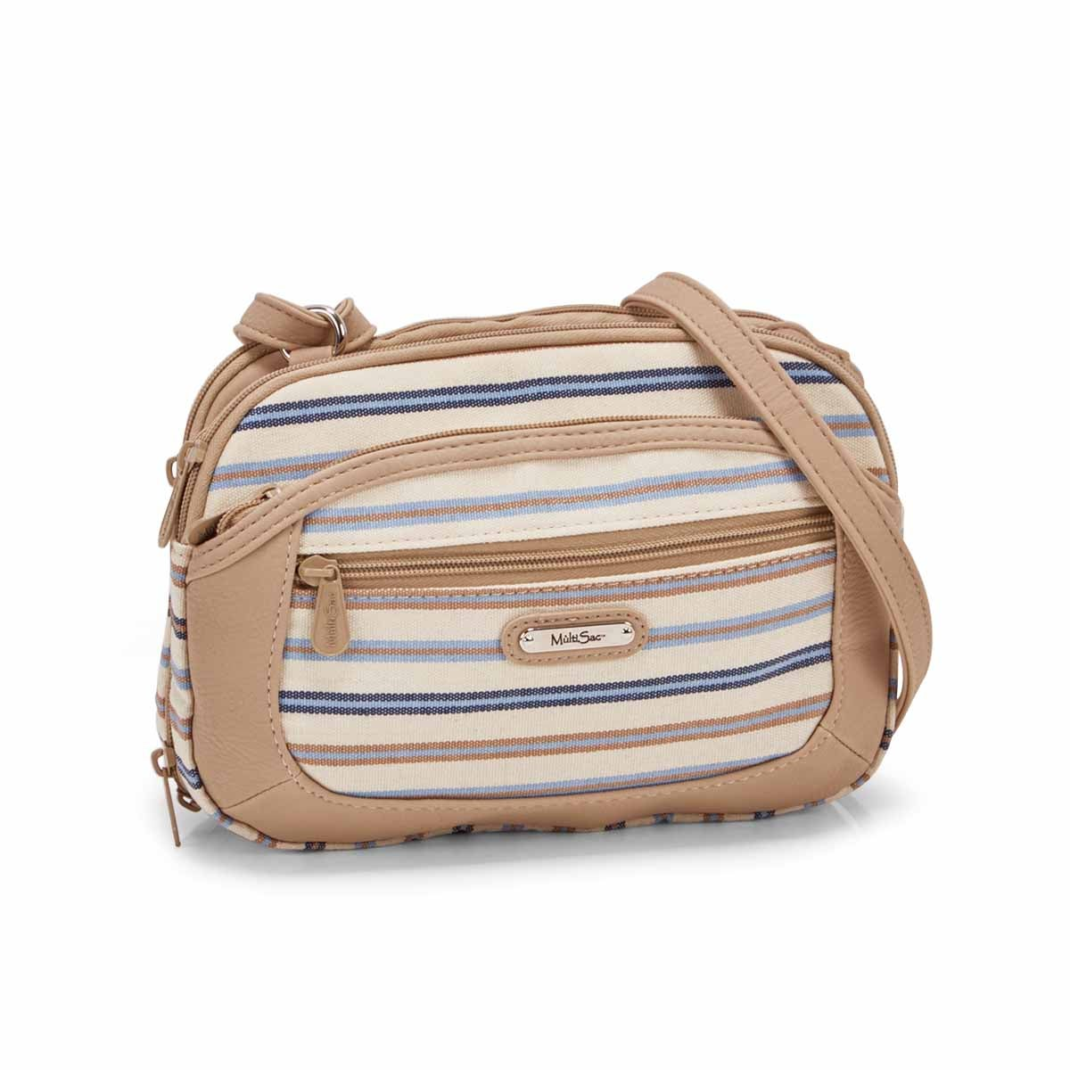 Women's TERABYTE blue/taupe stripe cross body bag