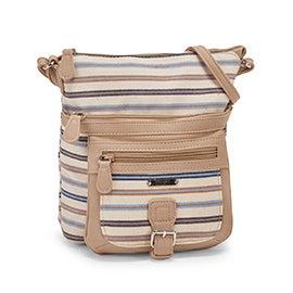 MultiSac Women`s CLASSIC blue & taupe stripe cross body bag