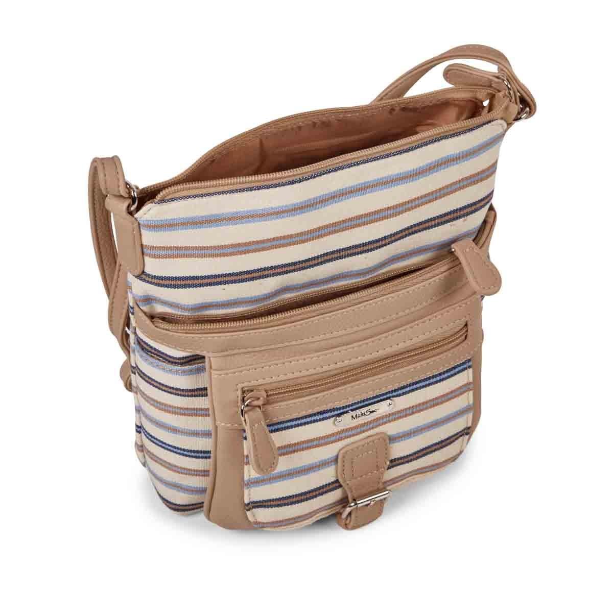 Lds classic blu/tpe stripe crossbody bag