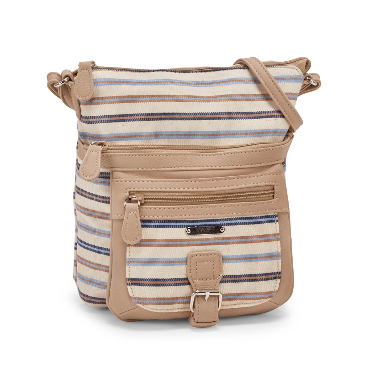 Women`s CLASSIC blue & taupe stripe cross body bag