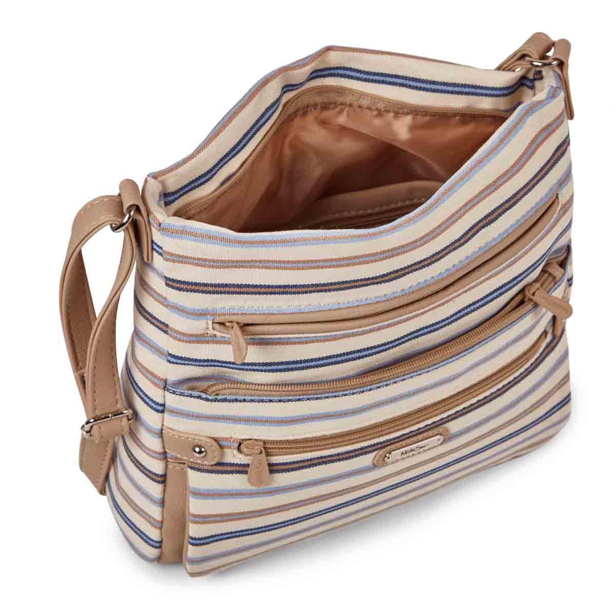 Lds Lorraine clsc stripe crossbody bag