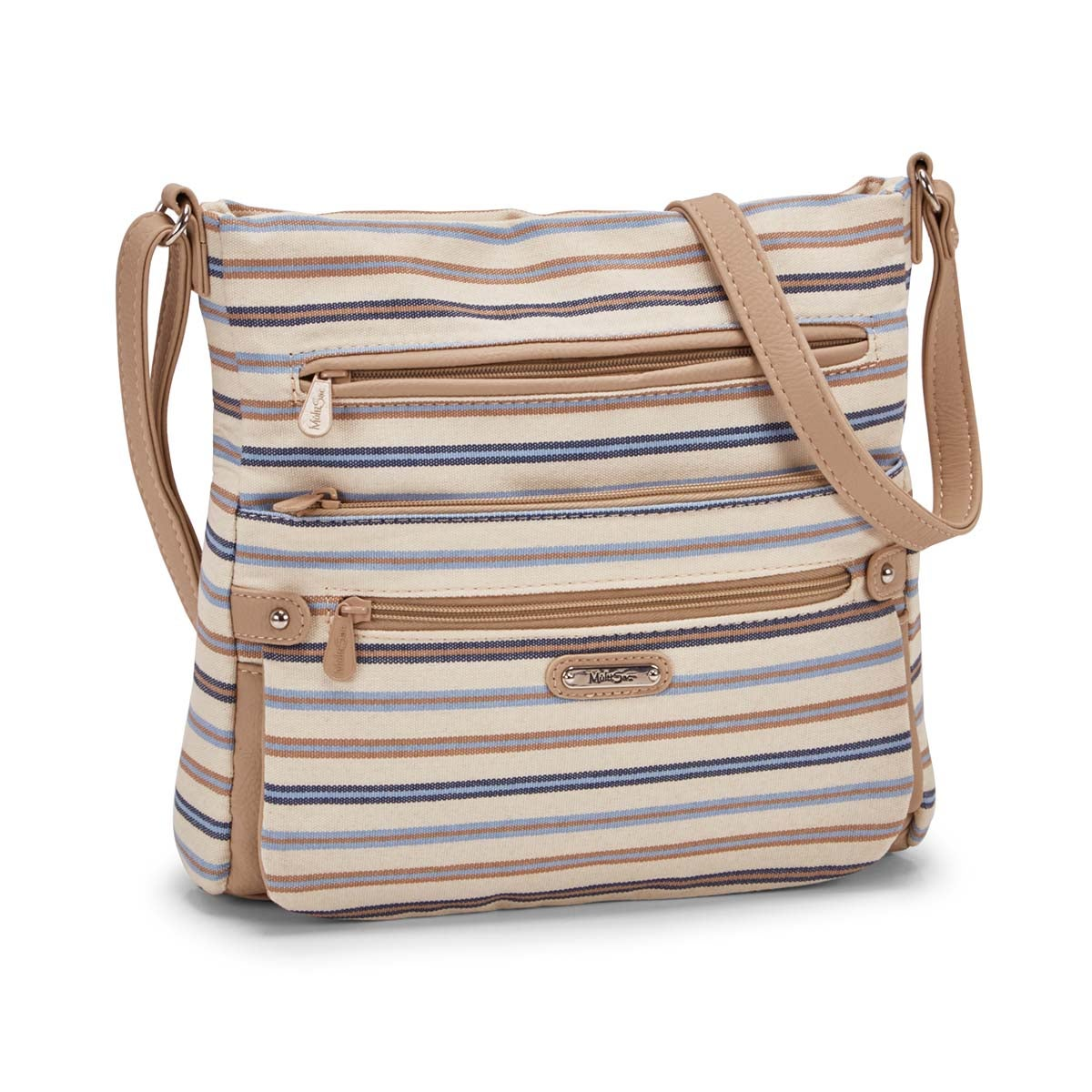 Women's LORRAINE blue & taupe stripe crossbody bag