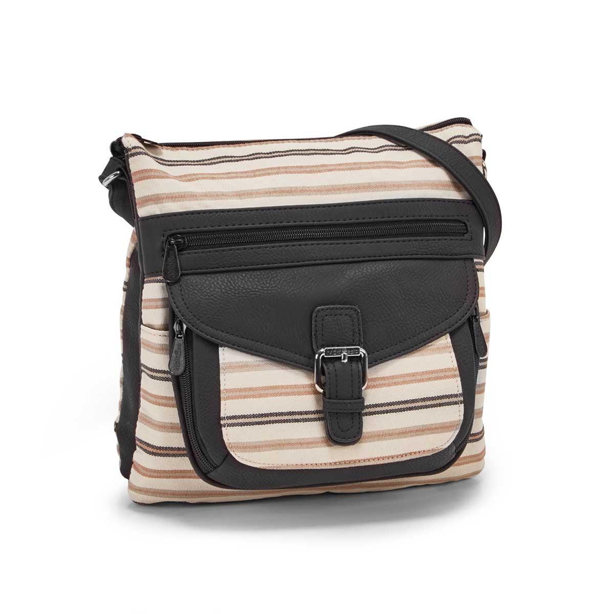Women's CONTOUR black classic stripe crossbody bag