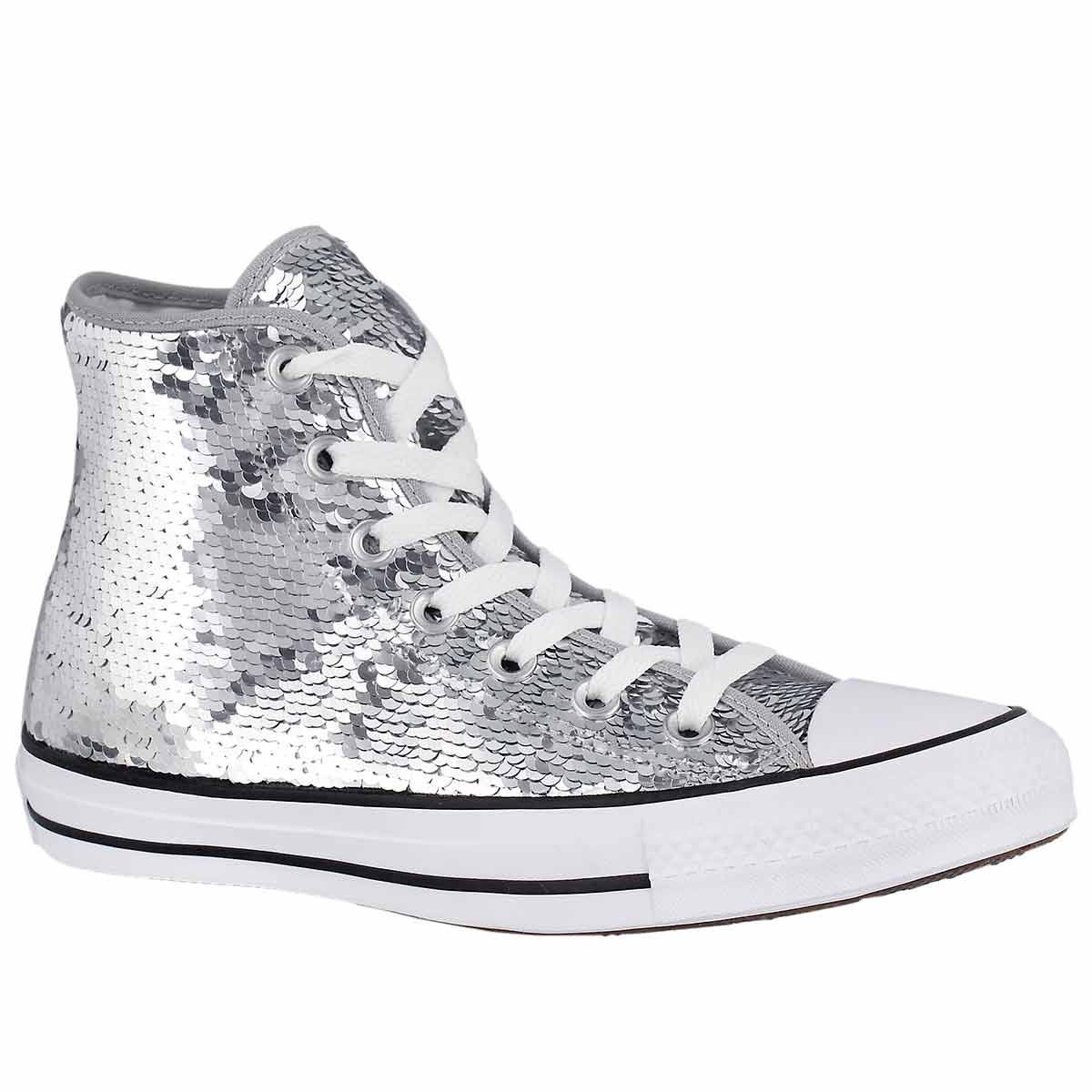 Women's CT ALL STAR CLASSIC SEQUINS silver hi tops