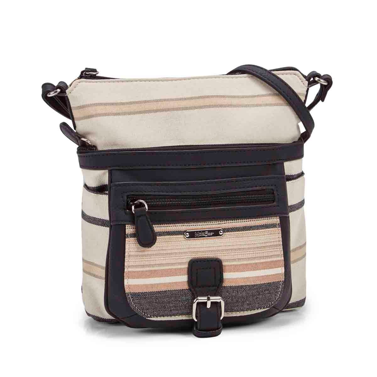 Women's mini FLARE natural/black crossbody bag