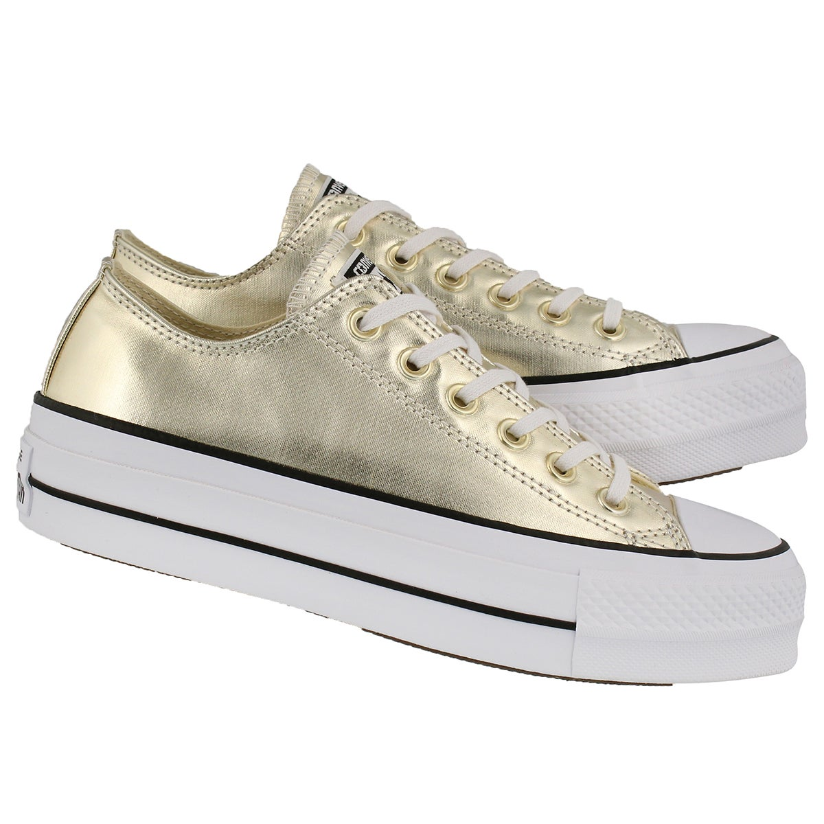 Lds CT AS Lift Mtlc slv platform sneaker
