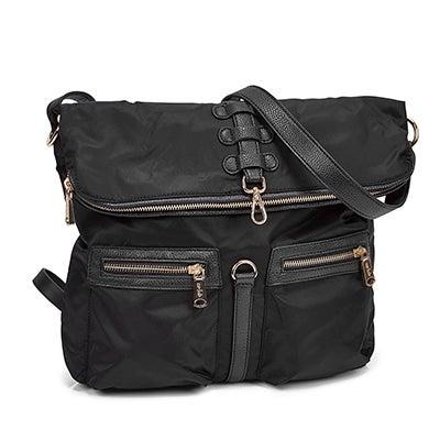 Lds Front Stitch black cross body bag