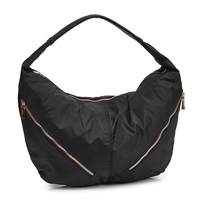 Lds black slouchy hobo bag
