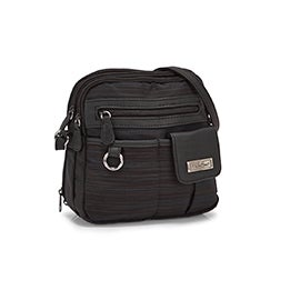 Lds blk zip around crossbody bag