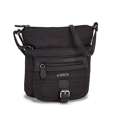 Lds black/black top zip crossbody bag