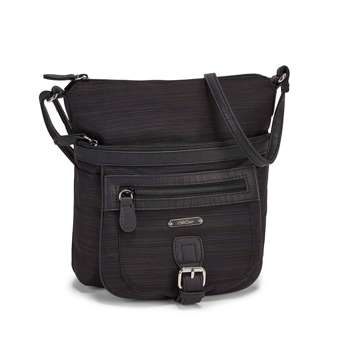 Lds black/black top zip crossbody bag