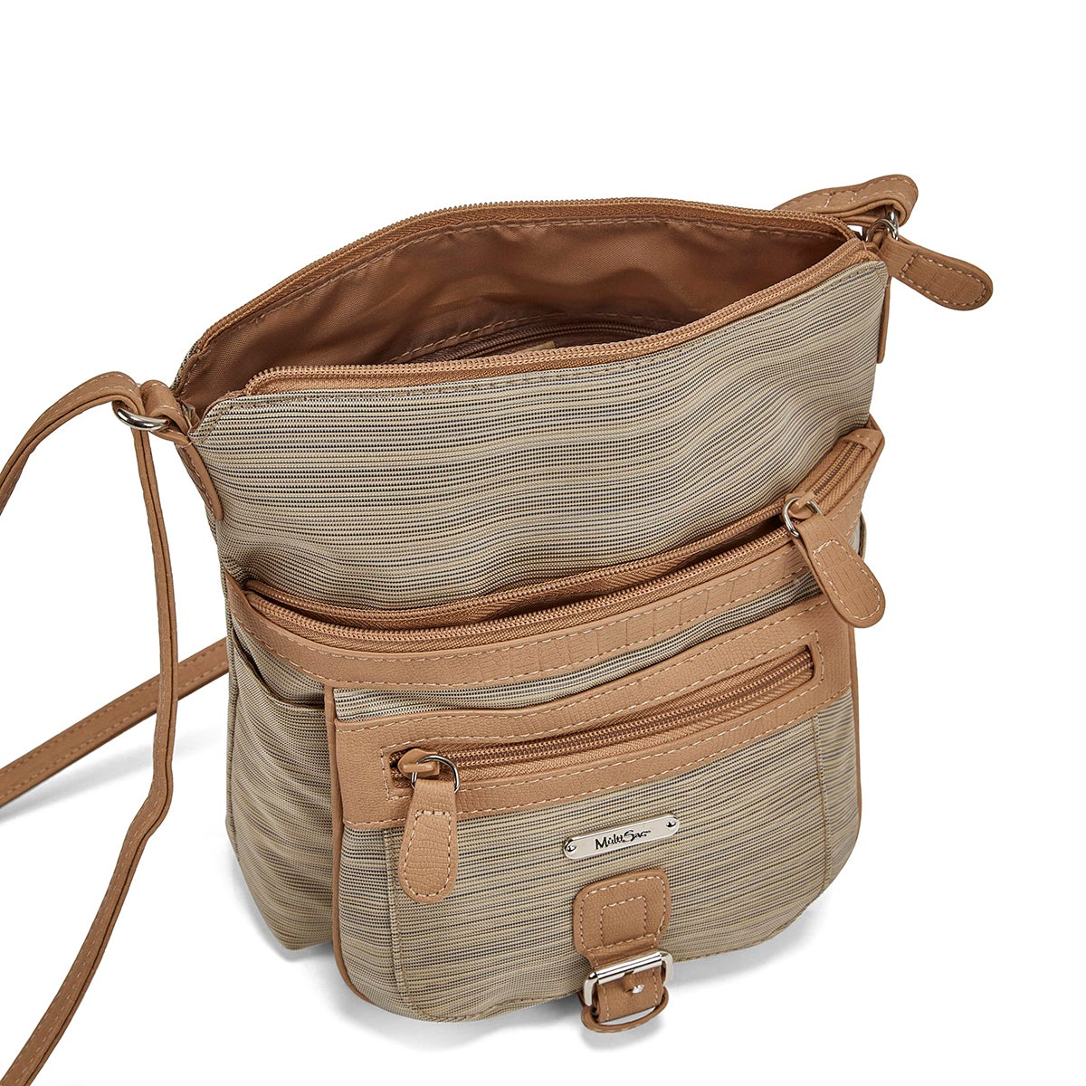 Lds chino/hay top zip crossbody bag