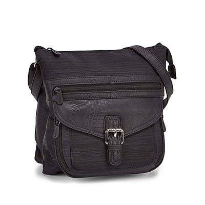 Lds blk/blk top zip crossbody bag