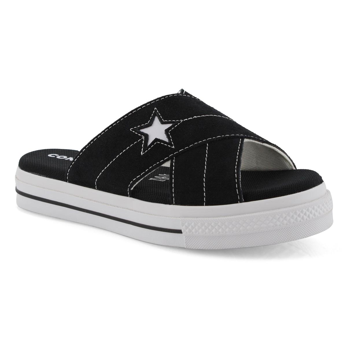 Lds One Star blk casual slide sandal