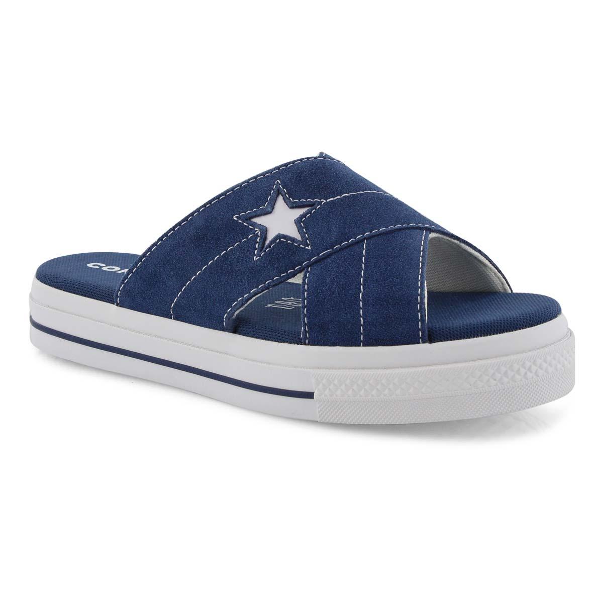 Lds One Star nvy casual slide sandal