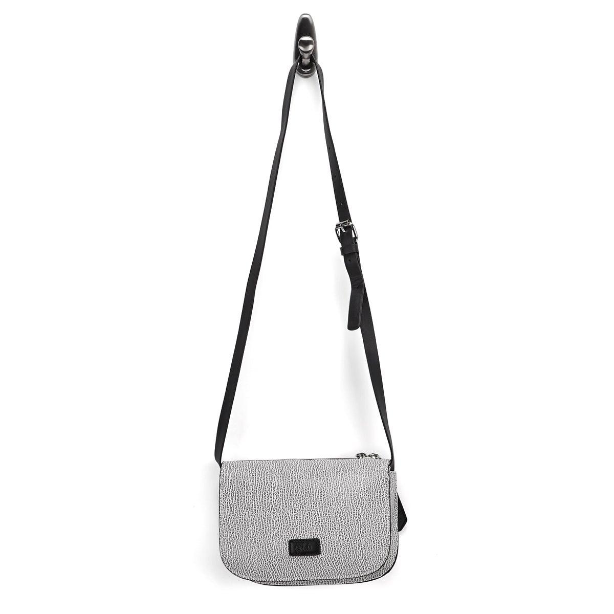 Lds Mini Saddle black/white cross body