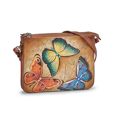 Painted leather Earth Song crossbody