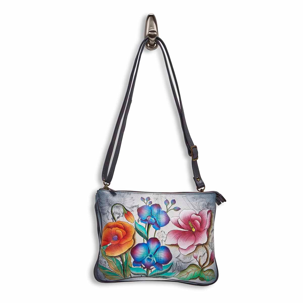 Painted leather Floral Fantasy crossbody