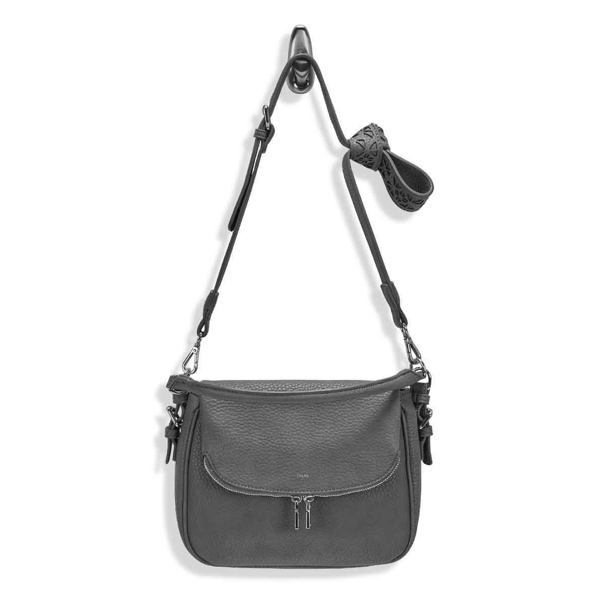 Lds Sasha grey hobo crossbody bag