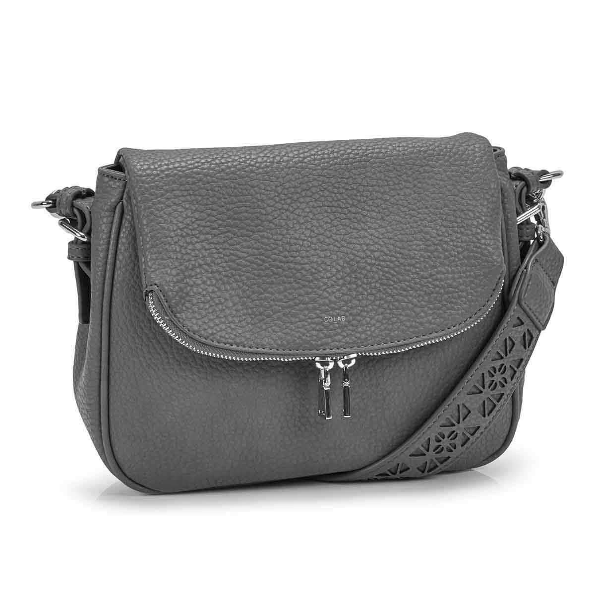 Women's SASHA grey hobo crossbody bag