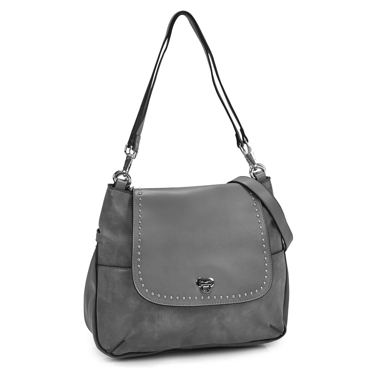 Women's DAISY grey hobo with crossbody strap