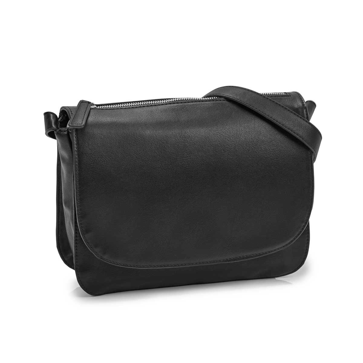 Women's MATTIE black crossbody saddle bag