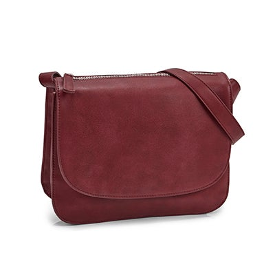 Lds Mattie plum front flap crossbody