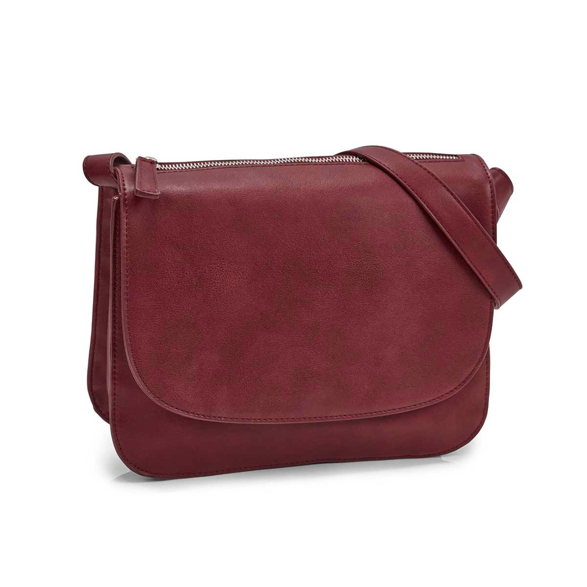Women's MATTIE plum crossbody saddle bag