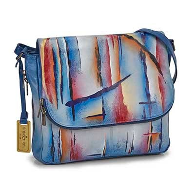 Printed lthr Northern Skies satchel