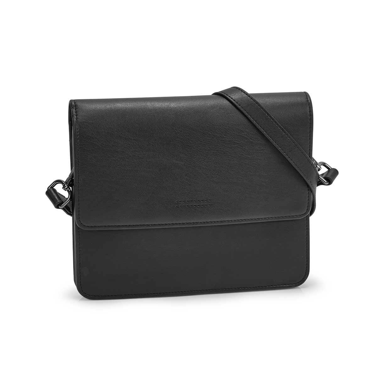 Lds Alexis black flap crossbody bag