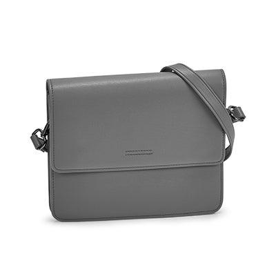 Lds Alexis grey flap crossbody bag
