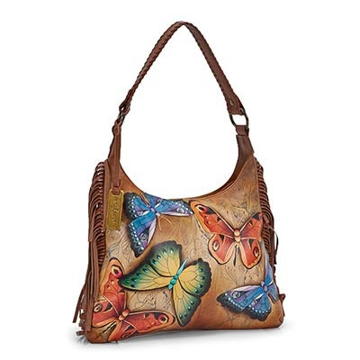 Printed lthr Earth Song hobo bag