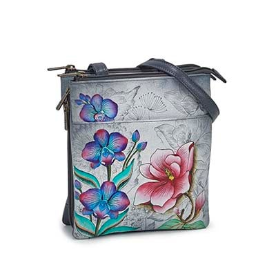 Printed lthr Floral Fantasy cross body