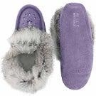 Lds purple rabbit fur moccasin