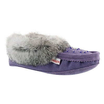 SoftMoc Women's 600  purple rabbit fur moccasins