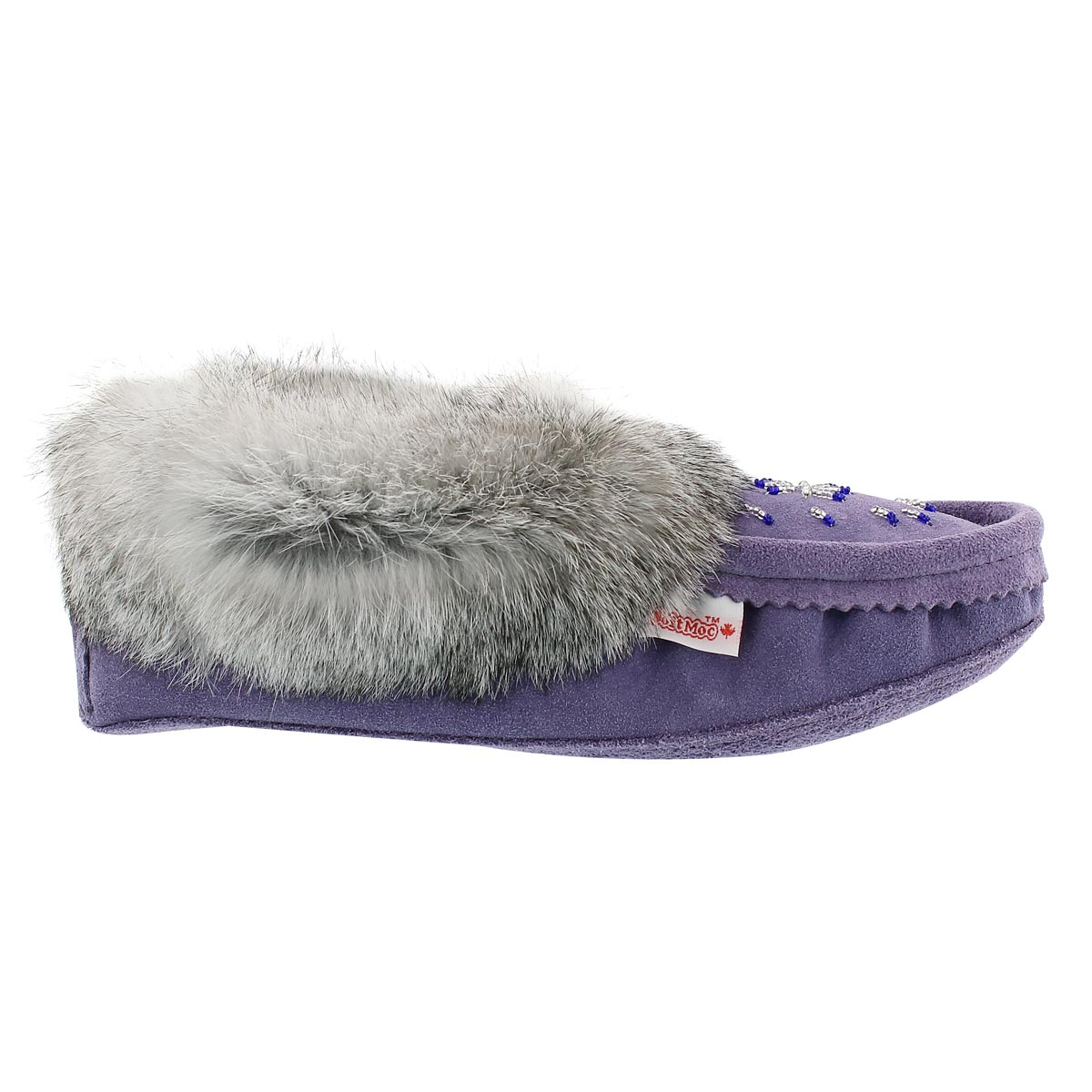 Lds purple rabbit fur moccasin