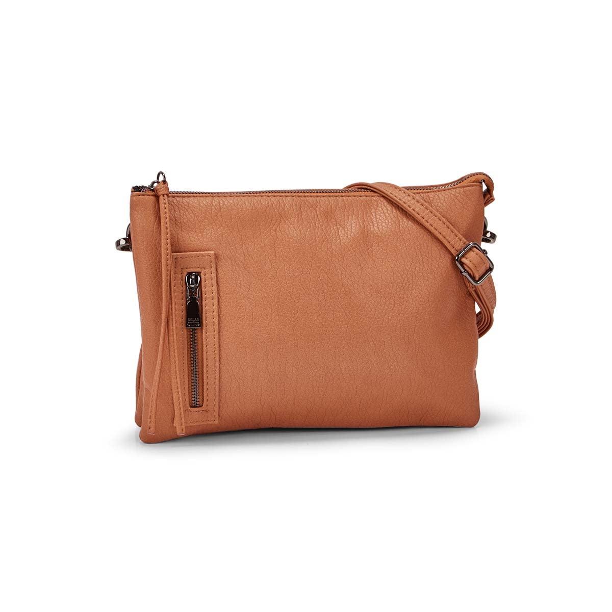 Women's LOFT FLAT pecan crossbody bag