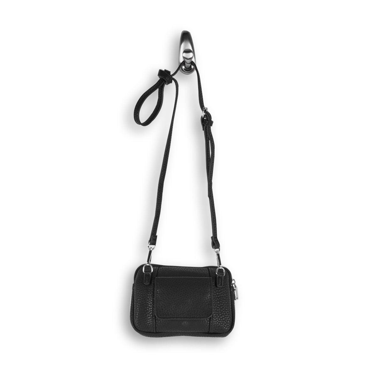 Lds Sydney Crossbody blk zip up wallet