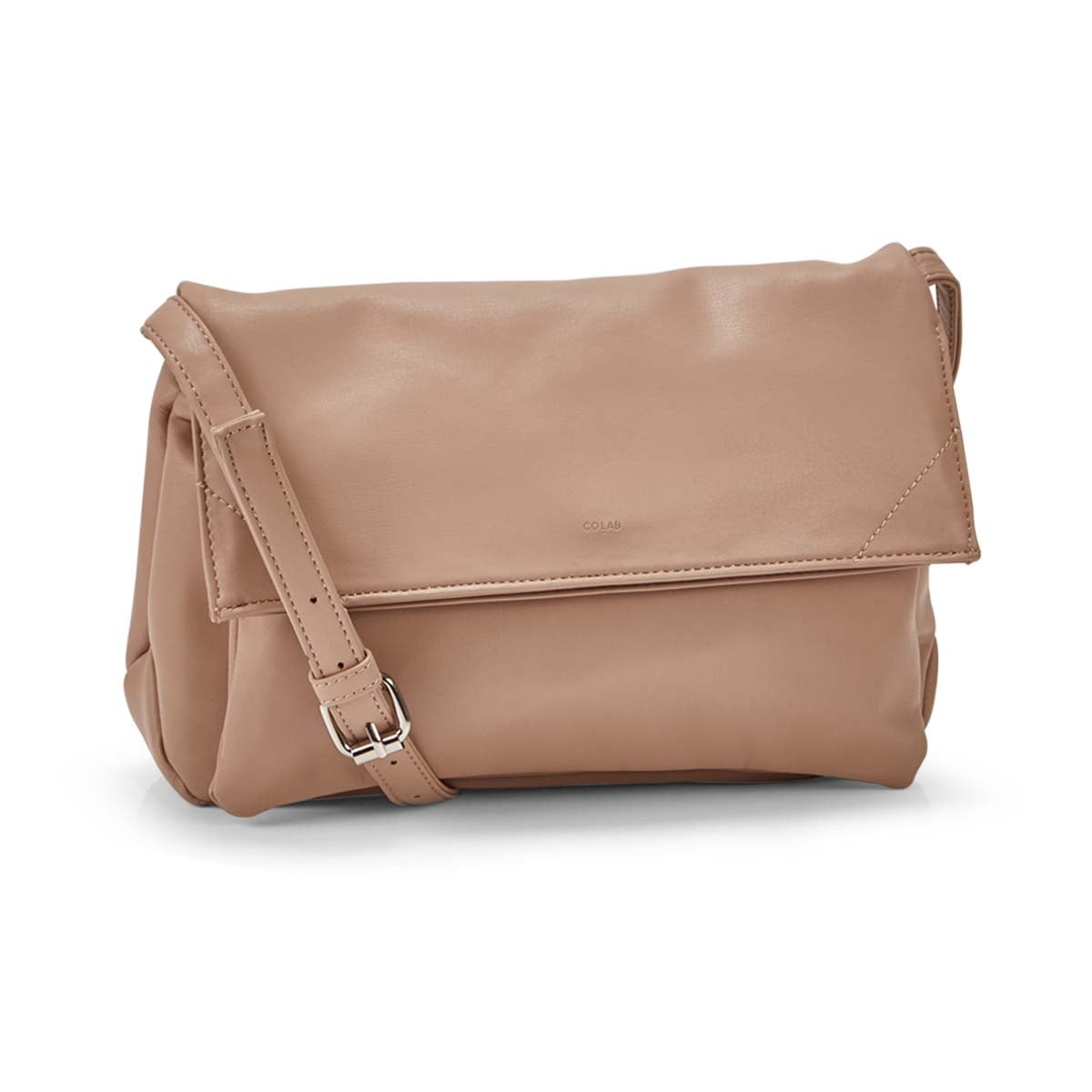 Women's HARLOW foldover beige crossbody bag