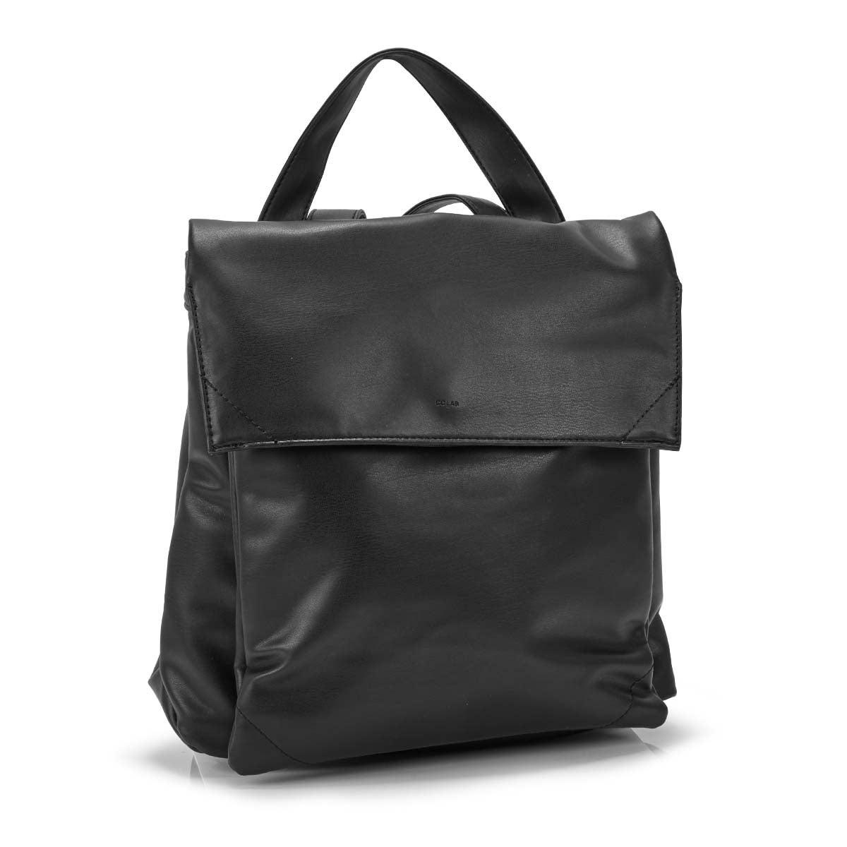 Women's HARLOW FLAP black backpack