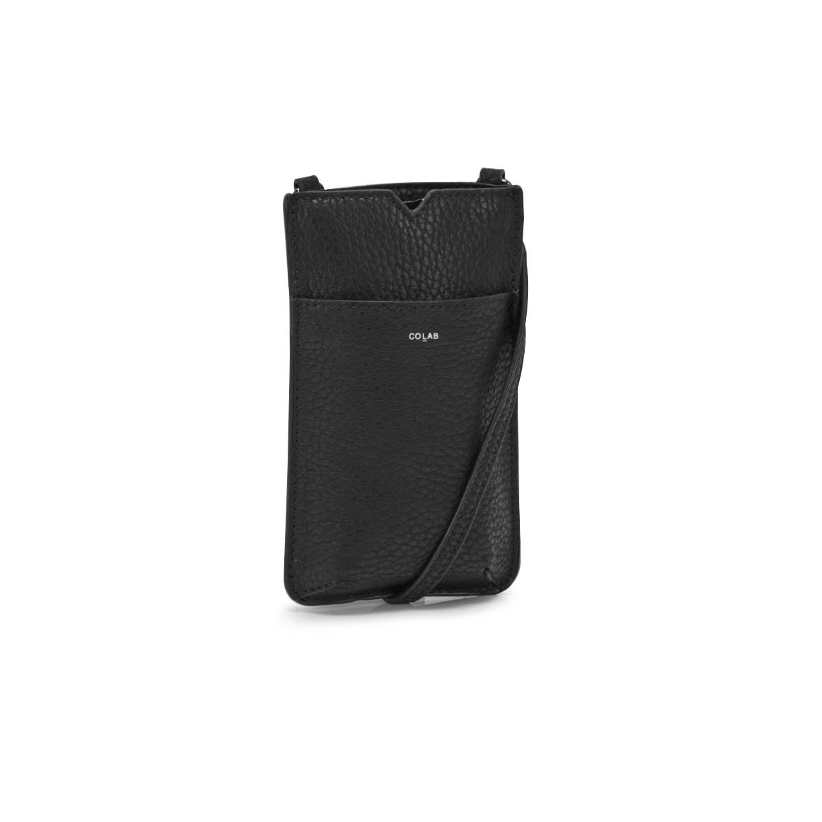Lds black cell-phone holder crossbody