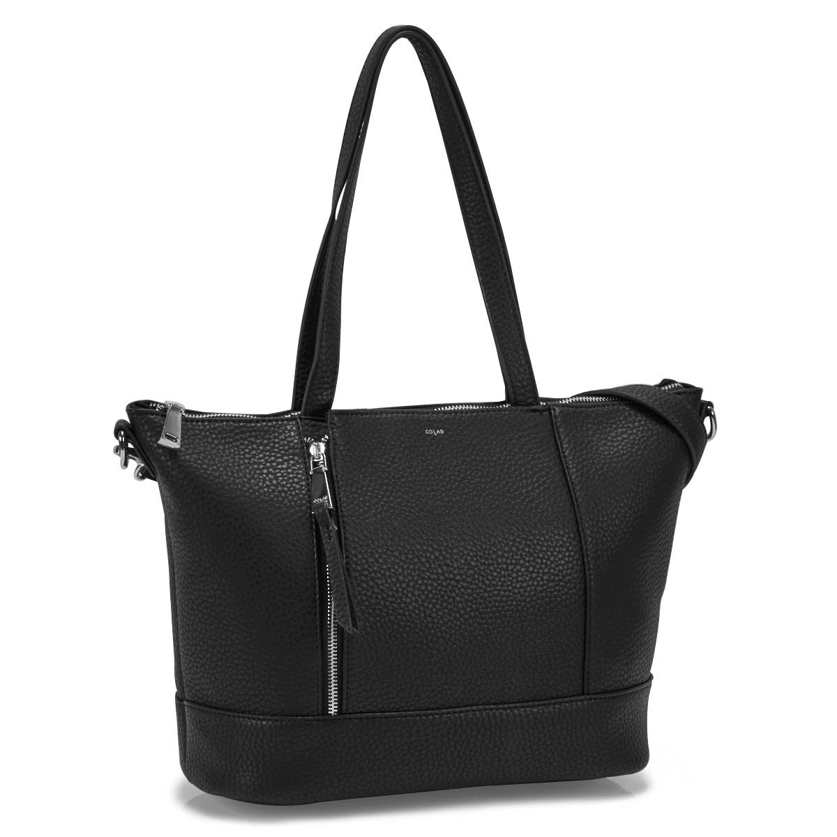 Lds black top zip large tote bag