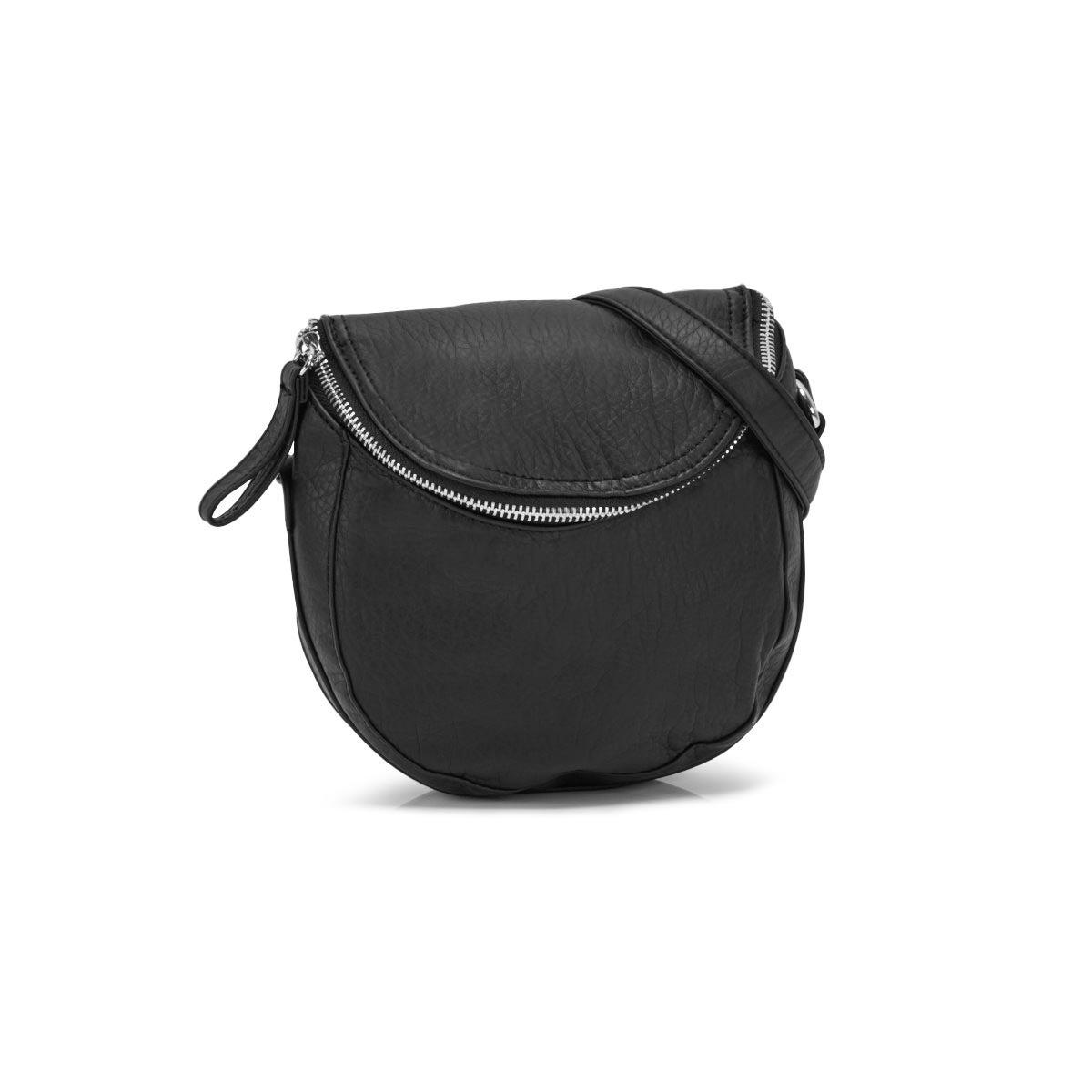 Lds blk washed vintage zip crossbody bag
